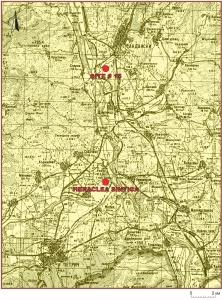 На картата (автор инж. Атанас Каменаров) се вижда разположението на лагера спрямо Хераклея Синтика